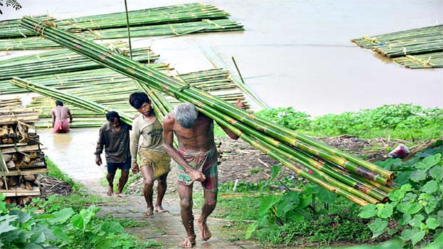 As barges reach Chakmaghat at foot hills of Baramura in Tripura, bamboo trades started once again