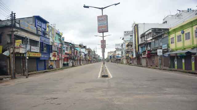 Shops shut and roads wore a deserted look in Agartala during complete lockdown across the State on July 05, 2020. Photo Ranjan Roy
