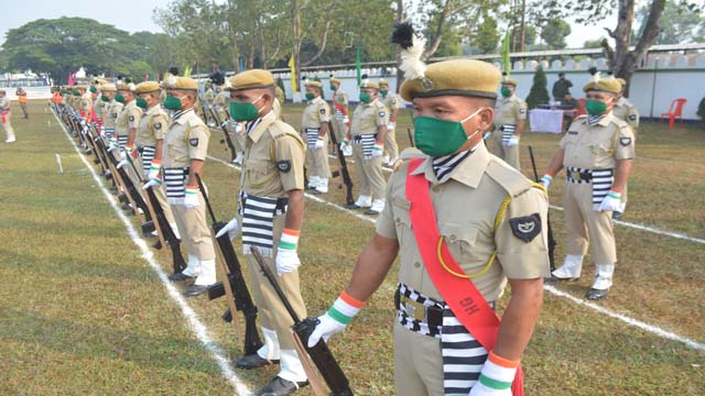 Final rehersals of Home Guard Day at police reserve in Agartala on December 04, 2020