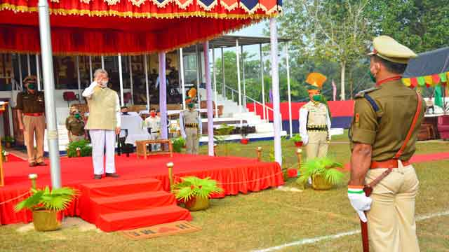 Tripura Revenue Minister NC Debbarma receiving salutes during observance of Home guard day on Dec 06, 2020 in Agartala
