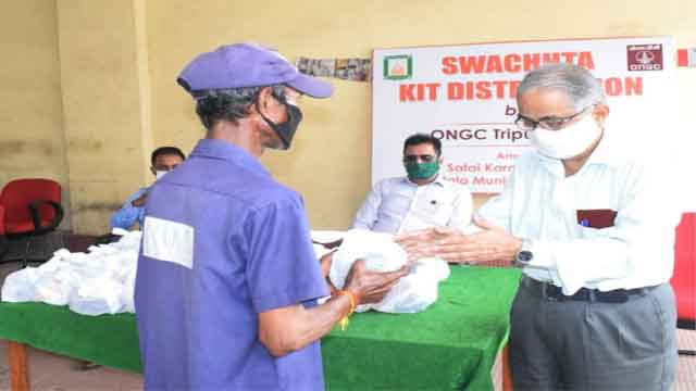 ONGC Organized a Swachhta Kit Distribution camp at AMC on Jul08, 2020. Photo Ranjan Roy