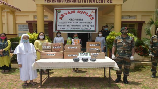 Agartala bn of AR under aegis of 21 sec AR and IG AR (East) distributed rations and masks among spl children at Ferrando School in Agartala on July 17, 2020